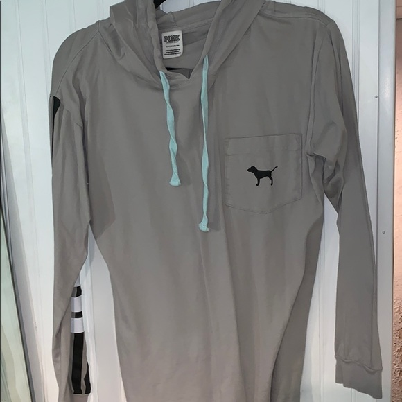 PINK Victoria's Secret Tops - VS PINK grey pullover long sleeve with hood